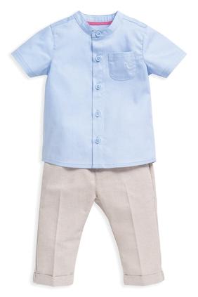 طقم قميص وبنطال شامبراي - قطعتان