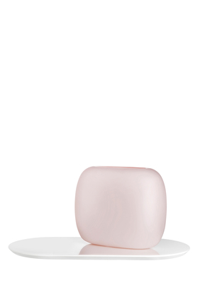 DJ Vase Nude Pink w/ Lacquered Wooden Base H270mm:Pink :One Size