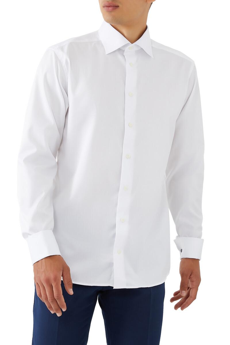 قميص تويل مميز للماركة بقصة ضيقة image number 1