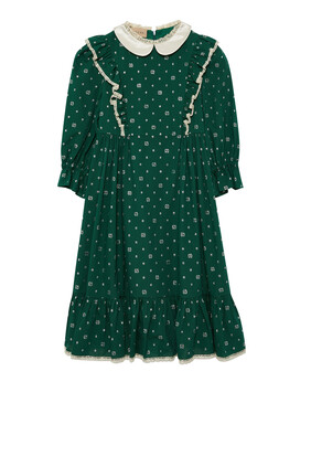 فستان قطن بنقشة منقطة وحرفي GG