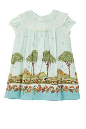 فستان حرير بطبعة كلاب وأشجار