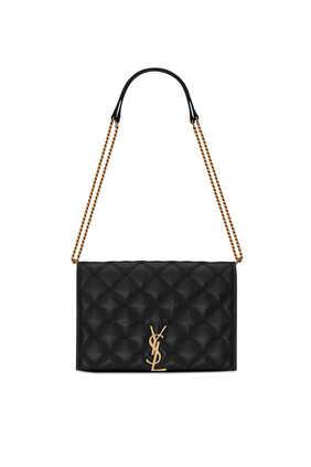 حقيبة بيكي ميني بسلسلة جلد ماعز مبطن بتصميم مربع