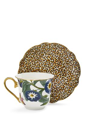 طقم فنجان شاي وطبق كريتشرز اوف كيوريوسيتي بنقشة جلد الفهد