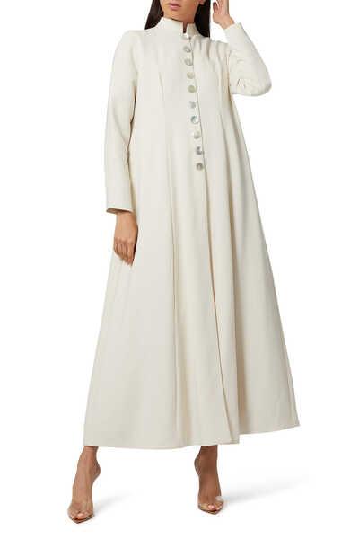 عباية طويلة بنمط معطف بأزرار