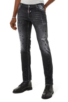 بنطال جينز بتصميم ممزق ولون باهت