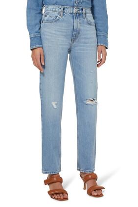 بنطال جينز مستوحى من السبعينيات بقصة ساق مستقيمة