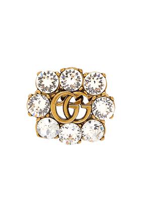 خاتم مرصع بالكريستال وشعار حرفي G