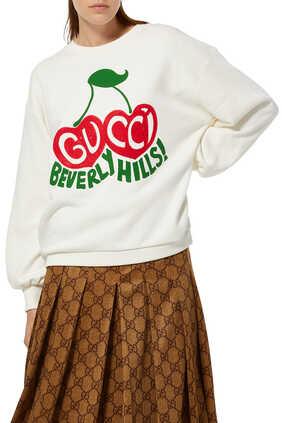 سويت شيرت بطبعة كرز بشعار 'Gucci 'Beverly Hills