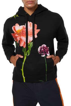 كنزة فلاورسيتي بغطاء رأس وطبعة زهور كبيرة