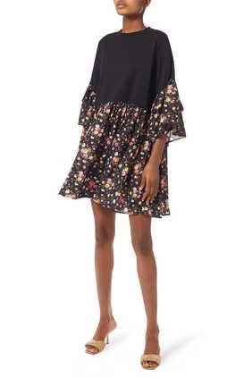 فستان قصير بنقشة زهور