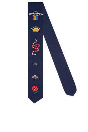 ربطة عنق صوف مطرزة