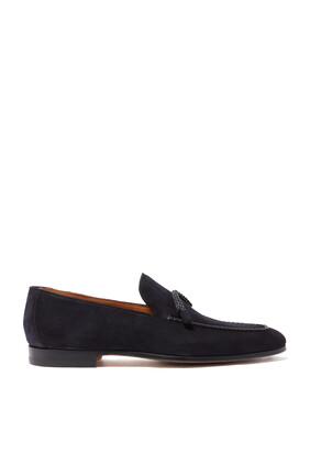 حذاء سهل الارتداء جلد مجدول