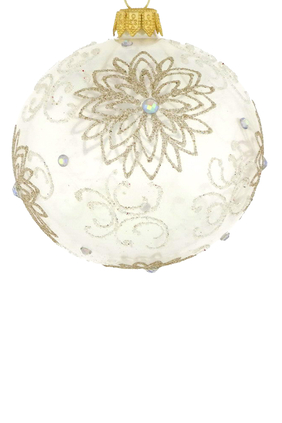 زينة زجاجية بتصميم زهرة لشجرة الكريسماس
