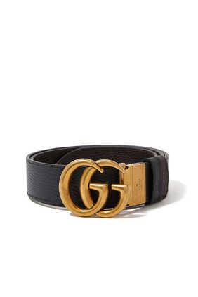 حزام جلد بإبزيم حرفي GG بتصميم بوجهين