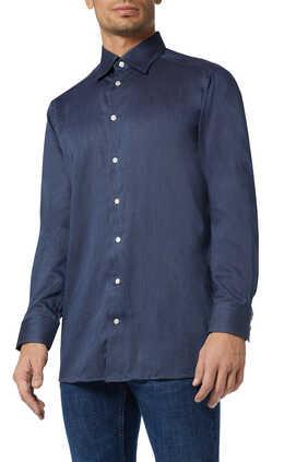 قميص فلانيل بقصة عصرية ونقشة هيرنغ بون