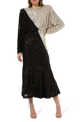 فستان بيلي متوسط الطول بلونين