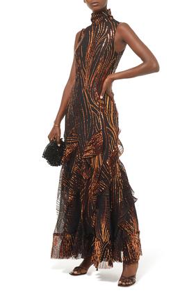 فستان طويل بكشكش
