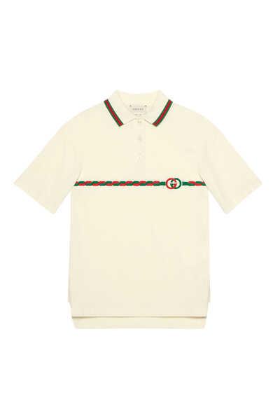فستان قطن وشعار غوتشي تنس