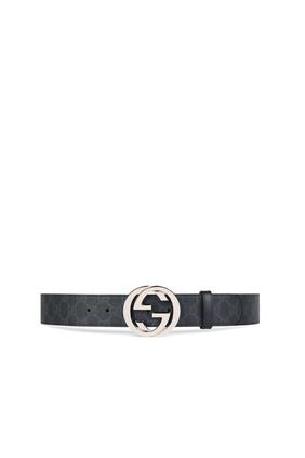حزام سوبريم بنقشة حرفي GG وإبزيم بتصميم حرفي GG متداخلين