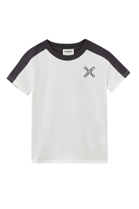 JB SS T-SHIRT WITH KENZO IN X ON SIDE:WHITE:3Y