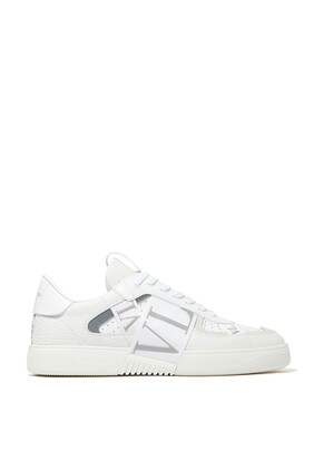 VLTN 7 LEATHER AND SUEDE PERFORATED SNEAKER - VLTN TAPE - BLACK W/ WHITE:White    :44