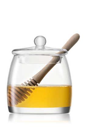 وعاء وملعقة عسل خشب بلوط من مجموعة سيرف