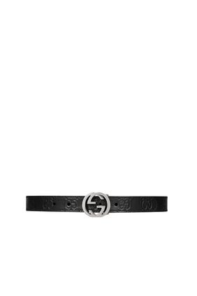 حزام جلد بشعار الماركة للأطفال