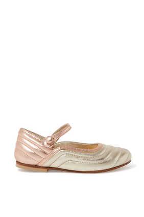 حذاء باليرينا جلد لامع بسير حول الكاحل وكعب مسطح