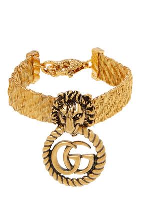 سوار مزين برأس أسد وشعار حرفي GG