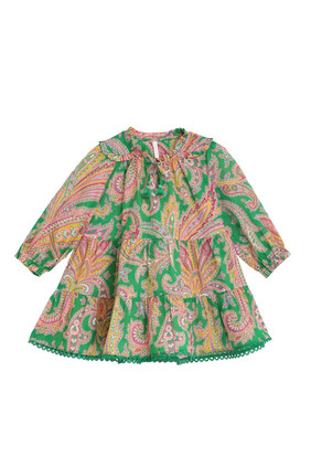 Teddy Long Sleeve Tiered Dress:Green :4Y