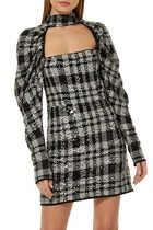 فستان كايا مزين بنقشة مربعات وترتر