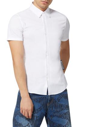 قميص بوبلين برقعة كبيرة بشعار الماركة