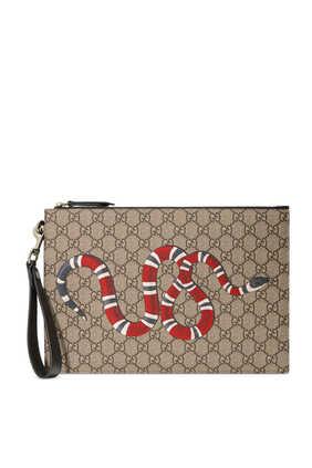 حقيبة صغيرة سوبريم مزينة بحرفي GG وطبعة أفعى
