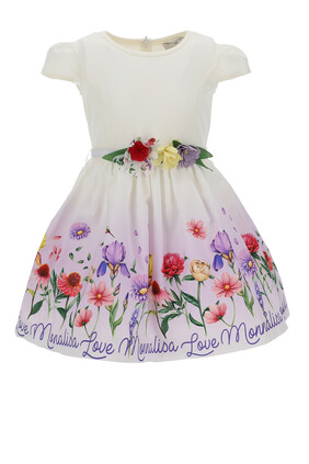 فستان بتنورة مزينة بنقشة زهور