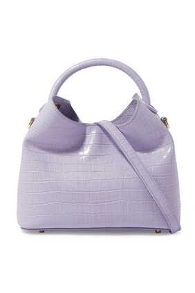 حقيبة باوزي جلد بنقشة جلد التمساح