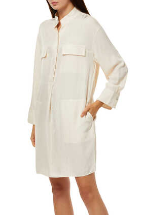 فستان يوتيليتي بنمط قميص حرير