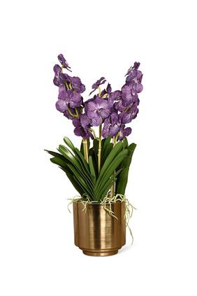 باقة زهور فاندا صناعية بمزهرية باللون الذهبي