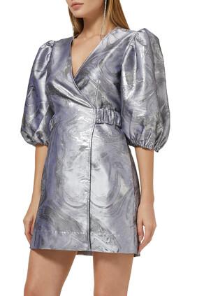 فستان جاكار بتصميم ملفوف