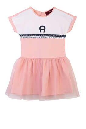 فستان بتنورة تول مزين بشعار الماركة