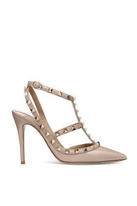 حذاء كلاسيك فالنتينو غارافاني جلد بسيور متداخلة وحلي هرمية
