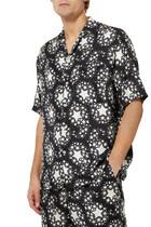 قميص بولينغ حرير بنقشة نجوم