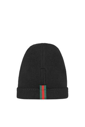 قبعة بيني صوف بشريط ويب