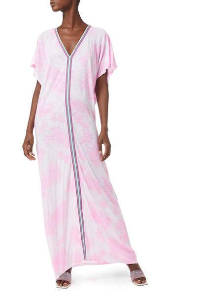 فستان صيفي بأشرطة إنكا مصبوغ بالربط