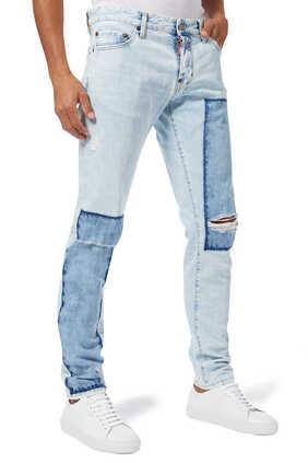بنطال جينز دينم بتصميم باهت ورقعات داكنة