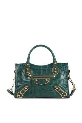 حقيبة ميني سيتي إس جلد بنقشة جلد التمساح