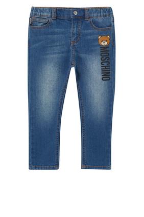 بنطال جينز مزين بدب