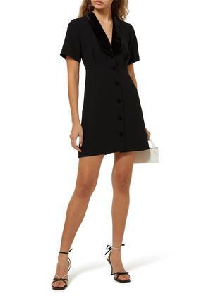فستان هيلينا قصير بفتحة رقبة V