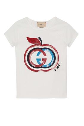 تي شيرت بطبعة حرفي الماركة متداخلين على شكل تفاحة