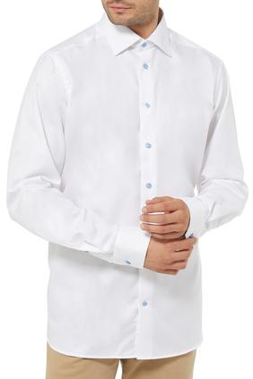 قميص تويل بنقشة شعار الماركة