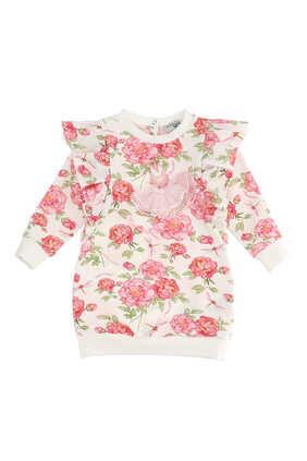 فستان بنمط سويت شيرت بنقشة زهور